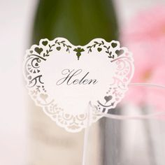 Wedding Name Place Cards for Glass - White laser cut heart design - Pack of 10   eBay
