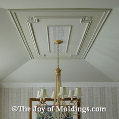 Here's an example of how you can decorate a tray ceiling with simple moldings. By Oakland County, Michigan, finish carpenter. Dining Room Ceiling, Coffered Ceiling Dining Room, Molding Ceiling, Ceiling Medallions, House Ceiling Design, Ceiling Design Living Room, Plaster Ceiling Design, Ceiling Crown Molding, Ceiling Lights