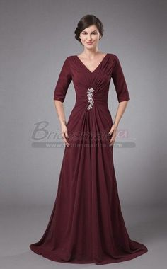 V Neck Long Chiffon Dark Burgundy Vintage Mother of the Bride Dress with Half Sleeve MBD-CA106 - BridesmaidCA.com