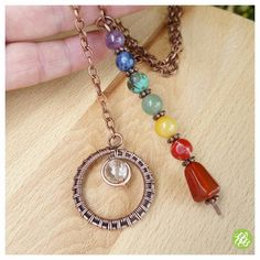 Healing chakra pendulum necklace wire wrapped by FromRONIKwithLove
