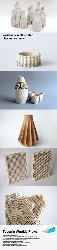 6 variations with 3D printed clay and ceramics.