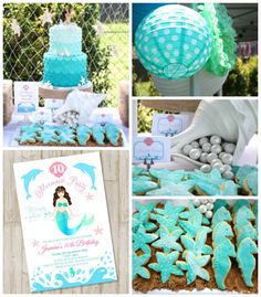 Enchanting Mermaid themed birthday party with Lots of Really Cute Ideas via Kara's Party Ideas! Full of decorating ideas, cakes, cupcakes, f...