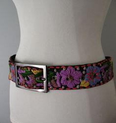 Embroidered Cotton Belt Colorful Bohemian Vintage Inspired L XL at Couture Allure Vintage Clothing
