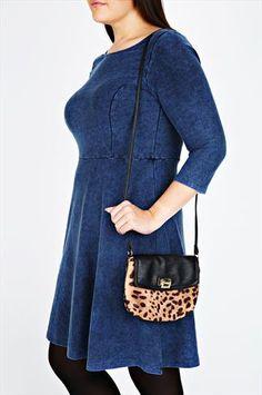 Animal Print & Black Shoulder Bag With Gold Details