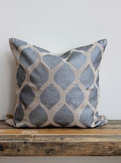 Throw pillow cover- Aya Metallic silver hand printed on greige organic hemp 20x20.