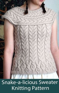 Snake-a-licious Sweater Knitting Pattern Cable Jumper - This cable pullover has a ssssecret. The gorgeous cables transform into snakes at the hem. Sizes small 32-34 medium 36-38 large 40-42. Worsted weight yarn. Designed by tiny owl knits