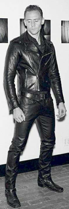 Actor Tom Hiddleston in full leather