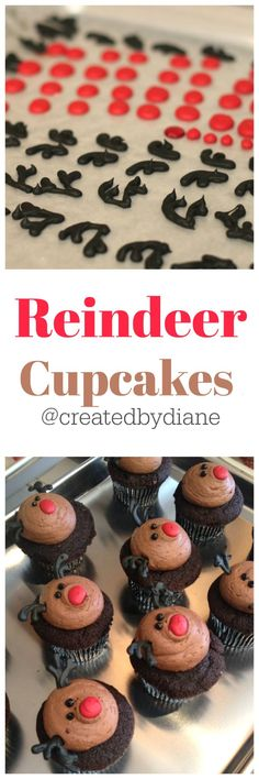 chocolate reindeer cupcakes with easy to make decorations Created by Diane Cupcake Recipes, Baking Recipes, Cupcake Cakes, Dessert Recipes, Cupcake Ideas, Christmas Party Food, Christmas Desserts, Christmas Baking, Christmas Cakes