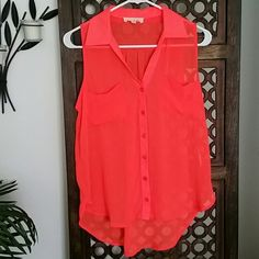 """Nordstrom's Lush Bright Orange Hi-lo Tank Very vibrant sheer button up top. Perfect for summer. Length of front 24""""about 4"""" longer in the back. No holes stains tears or pilling. Non smoking home. Lush Tops Tank Tops"""