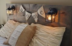LL - Rustic Headboard with built in lighting by KnotsandBiscuits, $120.00 or $220.00 for a queen size. I like. Def. going to keep this in mind.