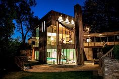 Cool design--love the down-stair pool, glass walls and walk-way
