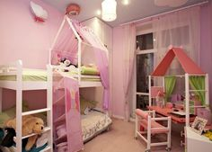 Kids Bedroom... Diane would love the canopy on the top bunk
