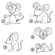 Cómo dibujar un paso del ratón de dibujos animados 4