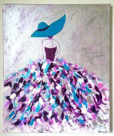 C'est un tableau moderne qui représente une femme dans une robe aux couleurs flamboyantes  sur une toile de dimension 55x46. Peinture contemporaine et moderne.  Les couleurs utilisées turquoise, fuchsia, rose, argent, blanc...  sur un fond gris argent et rose. Dimension 55 x 46 cm. C'est une peinture acrylique, vernis et signée.  Reproduction interdite  -  Modèle unique