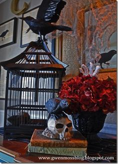 Old books can be in every vignette you create. They add so much atmosphere for a haunted house… Halloween 2013, First Halloween, Halloween Dress, Cute Halloween, Holidays Halloween, Halloween Crafts, Halloween Stuff, Spooky Halloween Decorations, Harvest Decorations