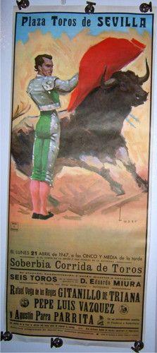 Vintage bull fight poster