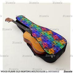 HOUSSE DE GUITARE WOOD PLANK OLD PAINTING MULTICOLOR Guitar Case, Plank, Kitten Heels, Cases, Painting, Acoustic Guitar, Slipcovers, Painting Art, Paintings