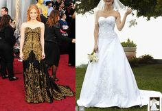 Jessica Chastain in Alexander McQueen and a complimentary wedding gown from The David's Bridal Collection