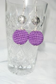 Dangly earrings violet purple the long by MiracleFromThreads