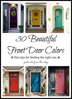 30 Front Door Colors with tips for choosing the right one. This is a great resource for door colors. #benjaminmoore #frontdoorcolor #paint @Benjamin Moore
