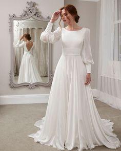33 Cute Modest Wedding Dresses To Inspire ❤ modest wedding dresses a line with long sleeves simple sassi holfold #weddingforward #wedding #bride #weddingoutfit #bridaloutfit #weddinggown