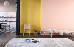 Sublime Interior painting tools,Interior living room paint colors and Interior paint colours for living room. Yellow Paint Colors, Room Paint Colors, Paint Colors For Living Room, Color Yellow, Interior Color Schemes, Interior Paint Colors, Interior Painting, Interior Design, Brown Couch Living Room