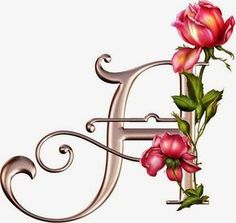Bronze w/ Pink Rose Alphabet Flower Alphabet, Monogram Alphabet, Alphabet And Numbers, Creative Lettering, Lettering Design, Abc Letra, Decoupage, Handwriting Fonts, Illuminated Letters