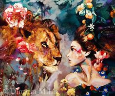 Fine Art Reproductions by Dimitra Milan Each print is printed with archival inks on enhanced matte paper, with a surrounding mat. Art And Illustration, Arte Inspo, Lion Art, Cross Paintings, Amazing Art, Watercolor Art, Fantasy Art, Portrait Art, Art Projects