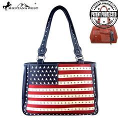 """Made of the PU leather , this concealed handgun tote has:          America flag colors  Red and White stripes  Accented with crystals studs  A zipper enclosure on top of the bag  Concealed Carry pocket with dual entrance for right and left handed carriers  Conceled carry pocket contains removable/adjustable holster (6"""" X 4"""")  Inside single compartment divided by a medium zippered pocket  Inside of bag include a zippered pocket and 2 open pockets  An open pocket at the back  Metal…"""