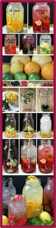 Get healthy and stay healthy with these detox water recipes. Cut fruit, add water and enjoy. Super simple and easy. It won't breal the bank, and it keeps hunger at bay. Yay!