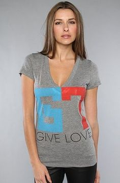 Rebel Yell The Give Love Skinny V Neck Tee,T-shirts for Women $27.95