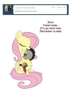#137234 - age regression, artist:anima-dos, ask, ask baby discord, baby discord, cradling, crying, cute, discord, fluttershy, frown, hug, sad, safe, smiling, tumblr - Derpibooru - My Little Pony: Friendship is Magic Imageboard