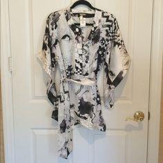 Gorgeous Galliano Kimono Style Tunic Gorgeous 100% silk Galliano print tunic with matching belt and kimono sleeves. Perfect condition, worn once. European size 38. Galliano Tops Tunics