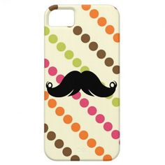 Mustache on a 70s Retro Pattern iPhone 5 Cover
