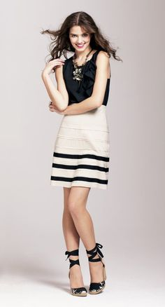 Ann Taylor Loft | Grosgrain Stripe Full Skirt with Asymmetrical Ruffle Shell Top