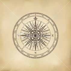Compass Rose on Old Paper. Royalty Free Stock Vector Art Illustration