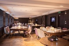 The Monte Carlo Suite is the perfect large venue for a private dinner, celebration or corporate meeting or conference in Glasgow. Natural wooden floors, rich wood paneling and luxurious fabrics compliment the bespoke dining table and chairs and the spectacular light fittings. Accommodating 52 guests either round one magnificent centre table or on individual tables of 10, the glamorous setting, natural day light and attentive service will surpass your expectations.