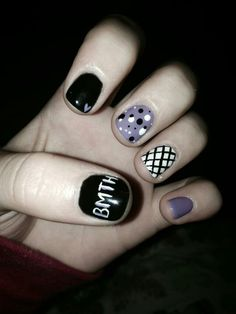 """Created by Alli Allbee """"Bring me the horizon"""" inspired nail art by A CUT ABOVE salon Farwell, MI ADORABLE!!!!"""