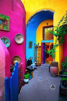 An artist's studio in Oia, Santorini, Greece. colorful colors rainbow