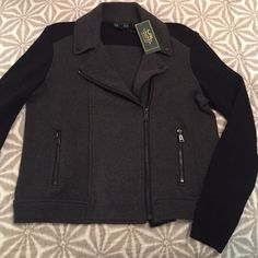 ABSOLUTE LOWEST NWT LRL Moto Jacket Sweater. Grey/Black Moto Sweater.  Price is FIRM Ralph Lauren Sweaters Cardigans