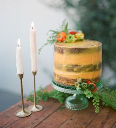 orange naked cake decorated with ranunculus + maiden hair fern Green Wedding, Floral Wedding, Gypsy Wedding, Wedding Day, Wedding Blog, White Cakes, Wedding Paper Divas, Fashion Cakes, Colorful Cakes