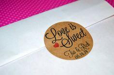 Custom Wedding Favor Sticker Love is Sweet by prettypaperparlor, $5.00