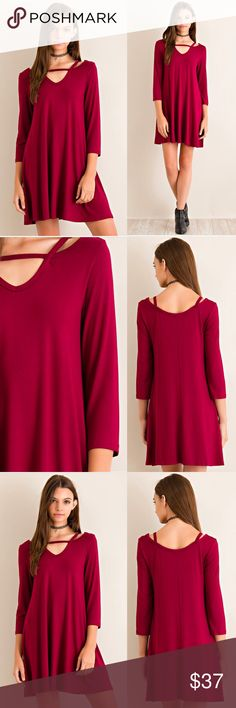 ⭐️PRE-ORDER⭐️ Burgundy Slit Shoulder Tunic Dress Available next week! Comment which size you'd like to hold. 🙋 Monika Rose SF Dresses