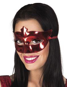 Antifaz veneciano rojo metálico adulto: Este antifiaz veneciano es para adulto.Es rojo metálico de plástico rígido y hará resaltar tu mirada.Se sujeta fácilmente con dos cintas rojas.Esta máscara...
