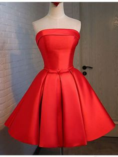 Strapless Prom Dress,Red Prom Dress,Short Homecoming Dress,Lace up