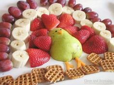 Fruit Turkey Chocolate Fondue = 1 of 25 Fabulous Sweet & Savory Thanksgiving Snacks :: FineCraftGuild.com