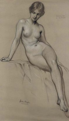 Study for the painting The Kelpie, now in the Lady Lever Art Gallery, Port Sunlight, Liverpool by H J Draper
