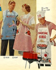 1958 BBQ Aprons  (there's no pattern for this, i pinned it for the picture of the apron idea)