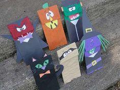 Lavoretti di Hallowen per bambini con la carta - Bustine spaventose di carta