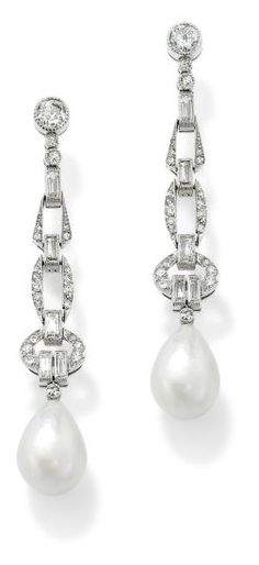 PHILLIPS : UK060111, , A pair of art deco natural pearl and diamond ear pendants